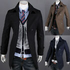 Mens Stylish Double Breasted Slim fit Formal Trench Coat Jacket Outwear