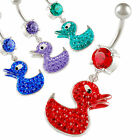 long belly rings dangling button bar duck navel jewelry crystal piercing 9IQD