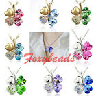 Four Leaf Clover Diamond Crystal Rhinestone Love Heart Flower Necklace Pendant
