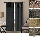 "2 Grommet Panels Faux Silk leather Window Curtain drape- 84"" choose from 5 color"