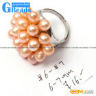 6-7mm Pearl Beads Fashion Jewelry Silver Plated Ring US #7 - #6  Assorted Colors