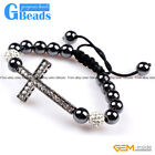 "10mm Cross Bracelet With White Crystal Rhinestones Ball Adjustable Size 6""-8"""