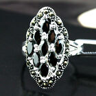Pretty 12X24mm Black Faceted Agate Marcasite 925 Sterling Silver Ring Size 7-10