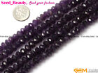 "Natural Amethyst Gemstone Beads Strand 15"" Rondelle Flat Faceted, Color Random"