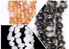 New Strand Natural Agate Black/White/Orange Gemstone Nugget Beads For Jewellery