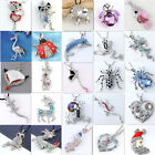 Silver Plated Crystal Animal Spider Frog Snake Bead Charm Necklace Pendant Gift