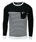Soul Star Chiltern Men's Crew Neck Striped Knitted Jumper Top black/white 2014