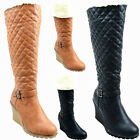 New Womens Ladies Mid Heel Quilted Fur Lined Snow Winter Calf Wedg Boots Sz 3- 8
