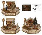 Wooden Musical Traditional Christmas Decoration Light Up Christmas Market Scene