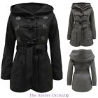 LADIES WOMENS OVERSIZED HOODED VINTAGE FLEECE JACKET BELTED TRENCH DUFFLE COAT