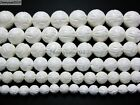 Natural White Tridacna Carved Lotus Flower Round Beads 16'' 8mm 10m 12mm 14mm