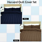 Navy Mocha - HARVARD Printed QUILT COVER Set - DOUBLE KING