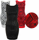 WOMENS LADIES SLEEVELESS METALLIC SEQUIN DESIGN STRETCH BODYCON DRESS TOP