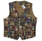 $198 Polo Ralph Lauren Mens Brown Patchwork Madras Slim Fit Button Vest Jacket