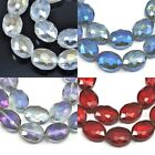 18x 16mm Faceted Flat Oval Cut Glass Crystal Beads Pick Your Colour