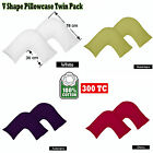 9 Color - Pair ( 2 ) of  300TC TRI  V Boomerang Shaped Pillowcases 100% Cotton