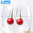 Fashion 12mm Round Ball Beads Tibetan Silver Dangle Earring For Chritmas Gift