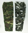 Boys Childrens Camo Camoflage Trousers Bottoms Pants Green Grey Blue Pockets