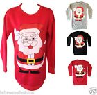 New Ladies Womens Girls Santa Claus Print Sweatshirt Top Long Jumper Size 8 - 14