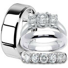 4 pc Mens & Womens Stainless Steel Engagement Wedding Anniversary Band Ring Set