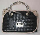 GUESS by Marciano KIERA Satchel Bag Purse Woven Genuine Black New