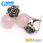 G-Beads Fashion 12mm Round Beads Marcasite Silver Flower Stud  Hoop Earrings