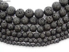 Natural Black Volcanic Lava Gemstone Round Beads 15.5'' 4mm 6mm 8mm 10mm 12mm