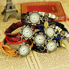 New Fashion Retro Pendant Leather Weave Ladies Bracelet Quartz Wrist Watch, G41