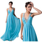 Beaded Sexy V neck Long New Chiffon Bridemaid Evening Dress Party Ball Prom gown