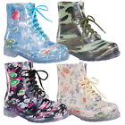 FOREVER ALYSON-07 Women's Fashion Lace Up Rain Boots Stylish Ankle Jelly Boots