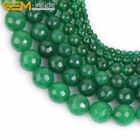 """Faceted Green Jade Stone Loose For Jewelry Making 15"""" Wholesale Jewelry Beads"""