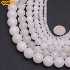 "Wholedale Round Smooth White Jade Gemstone Jewelry Making Beads 15"" Size Pick"
