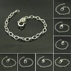 1pcs Stainless Steel Chain Cross Heart Peace Lobster Clasps Link Chain Bracelet