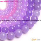 "Round Smooth Purple Jade Gemstone Jewelry Making Bead 15"" Seed_Beauty SD6475-V"