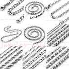 2MM-9MM Stainless Steel Silver Link Chain For Necklace Making Lobster Clasp DIY