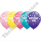 "Pk of 5 Qualatex 11"" Helium Quality Happy Birthday Girl Party Balloons Display"