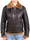 Ladies Aviator Brown New Women's Hooded Real Shearling Sheepskin Leather Jacket