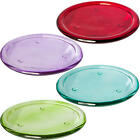 Round Vibrant Coloured Glass Pillar Candle Plate / Plant Pot Stand