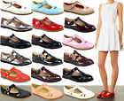 Ladies Women Girls Gold Buckle T Bar Geek Cut Out School Office Pumps Shoes Size