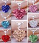 New 2013 gift CZ Crystal Heart Shamballa 925 Silver Chain Necklace & Pendant