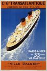 TX03 Vintage 1935 French Cruise Ship Transatlantique Travel Poster A1/A2/A3/A4