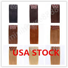 USA STOCK !Full Head 18 inch Indian Remy Human Hair Clip In Extensions 8pcs&120g