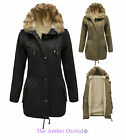 NEW LADIES FUR HOODED LINING THICKEN WARM MILITARY PADDED PARKA JACKET COAT 8-16