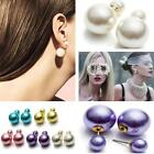 Pair Double Faux Pearl Button 2 Face Runway Style Earrings Woman Ladys Ear Studs