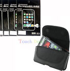 Belt Leather Case Cover + 3x Screen Protector Film FOR HTC Mobile Cell Phones UK