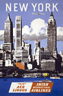 TX114 Vintage New York Irish Airlines Travel Tourism Poster Re-Print A1/A2/A3/A4