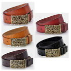 Cow Leather Belt With Hollow Out Buckle Print Flower Fits Most Adult Women Dress