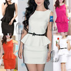 Sexy Vintage Peplum Rockabilly Pin Up Party Office Mini Dress AU SELLER dr151