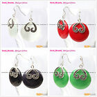 Fashion beauty 29mm coin beads carved tibetan silver dangle earrings 1 pair