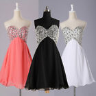 Formal Wedding Bridesmaid Prom Gown Ball Evening Party Cocktail Short Bead Dress